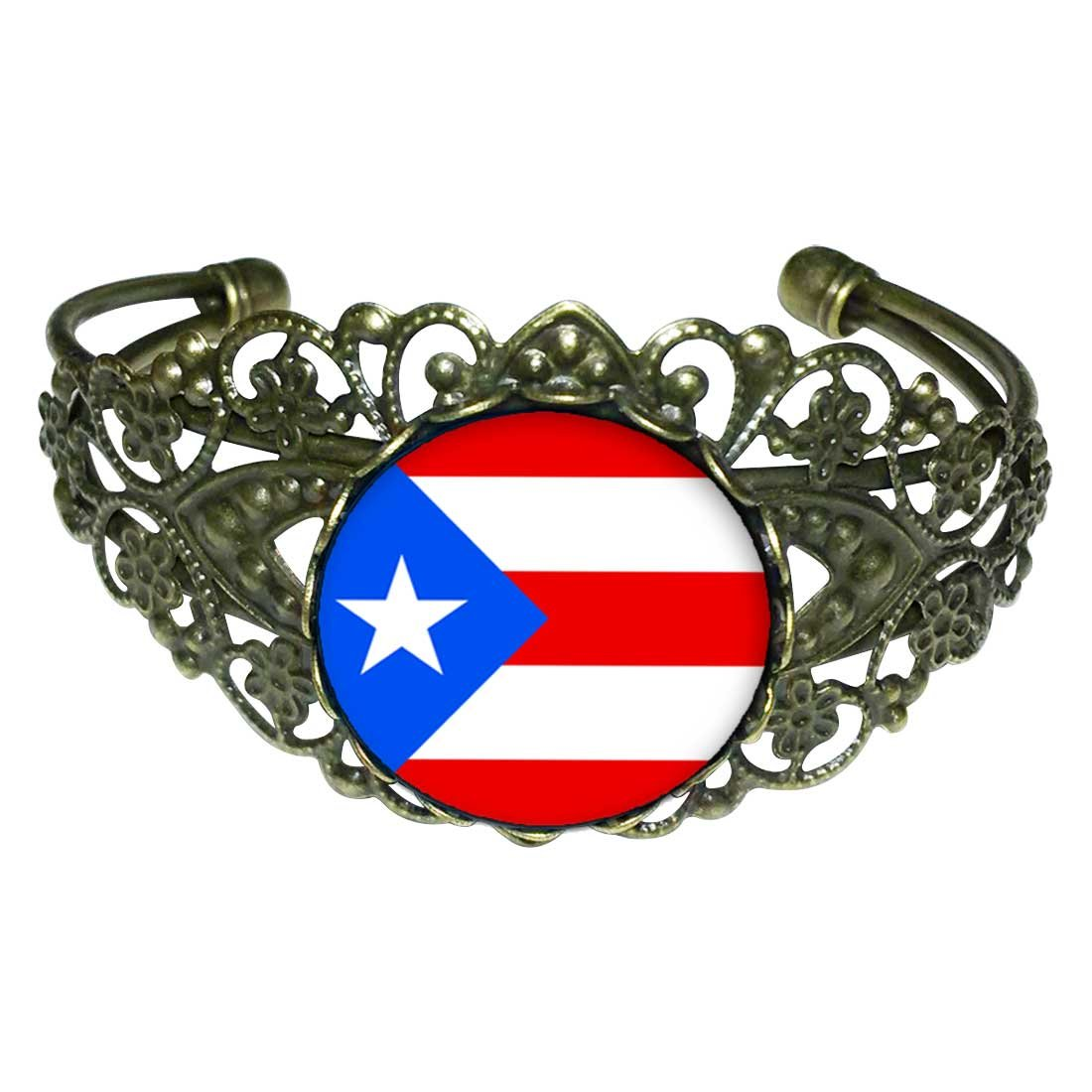 GiftJewelryShop Bronze Retro Style Puerto Rico flag Flower Cuff Bangle Bracelet Fashion Jewelry