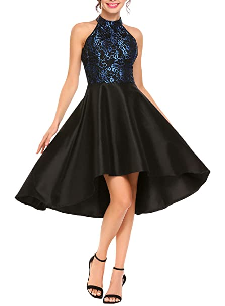 High Low Homecoming Dresses, Halter Appliques