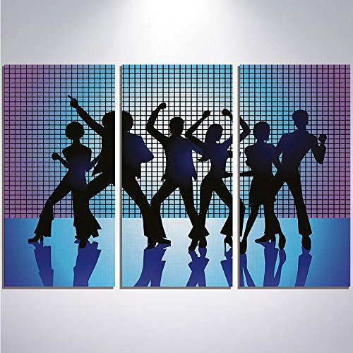 3 Pieces Modern Painting Canvas Prints Wall Art For Home Decoration 70s Party Decorations Print On Canvas Giclee Artwork For Wall DecorSilhouettes of Couples Dancing in Night Club Energetic Classic-Aq