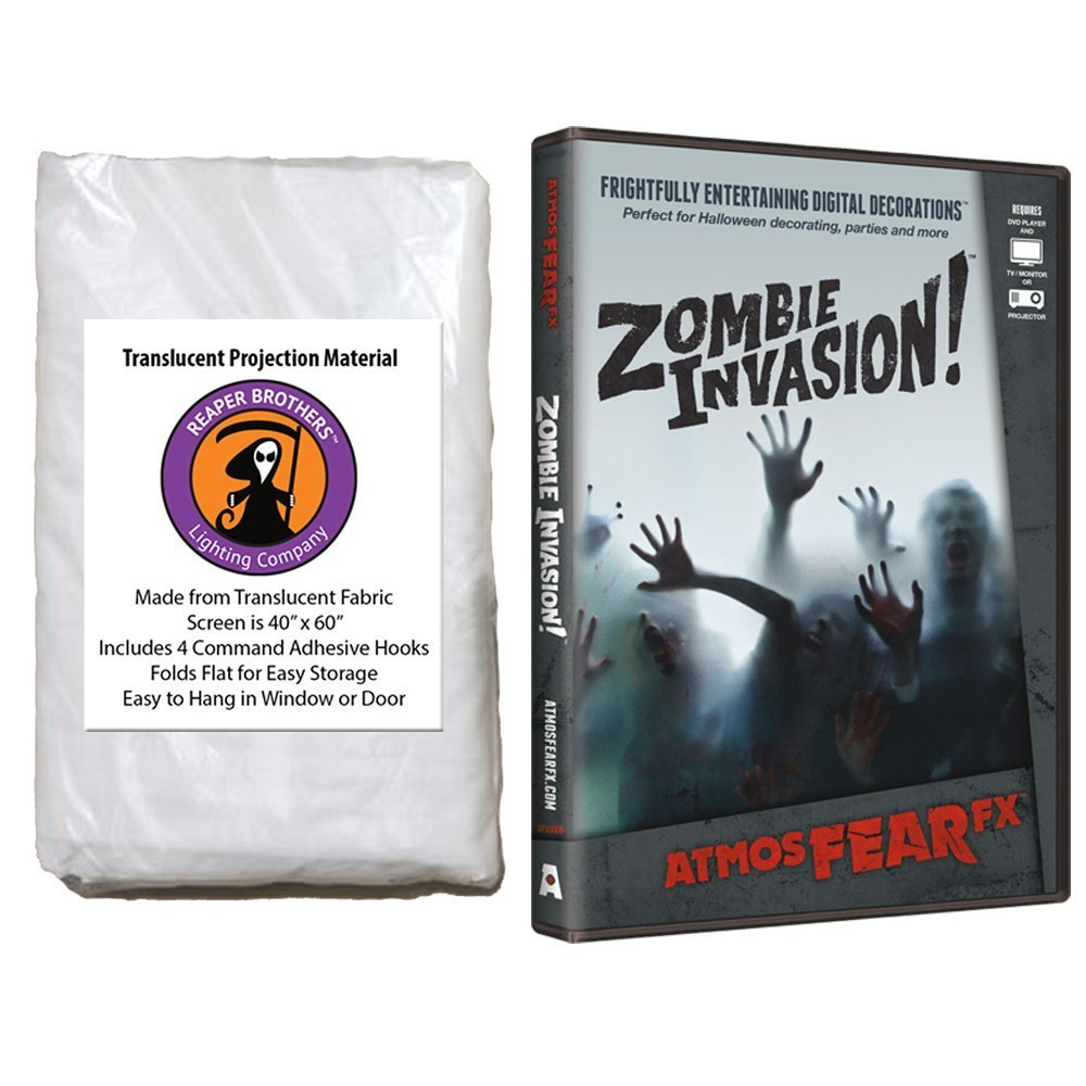 AtmosFearFX Zombie Invasion Halloween DVD and Reaper Brothers High Resolution Window Projection Screen