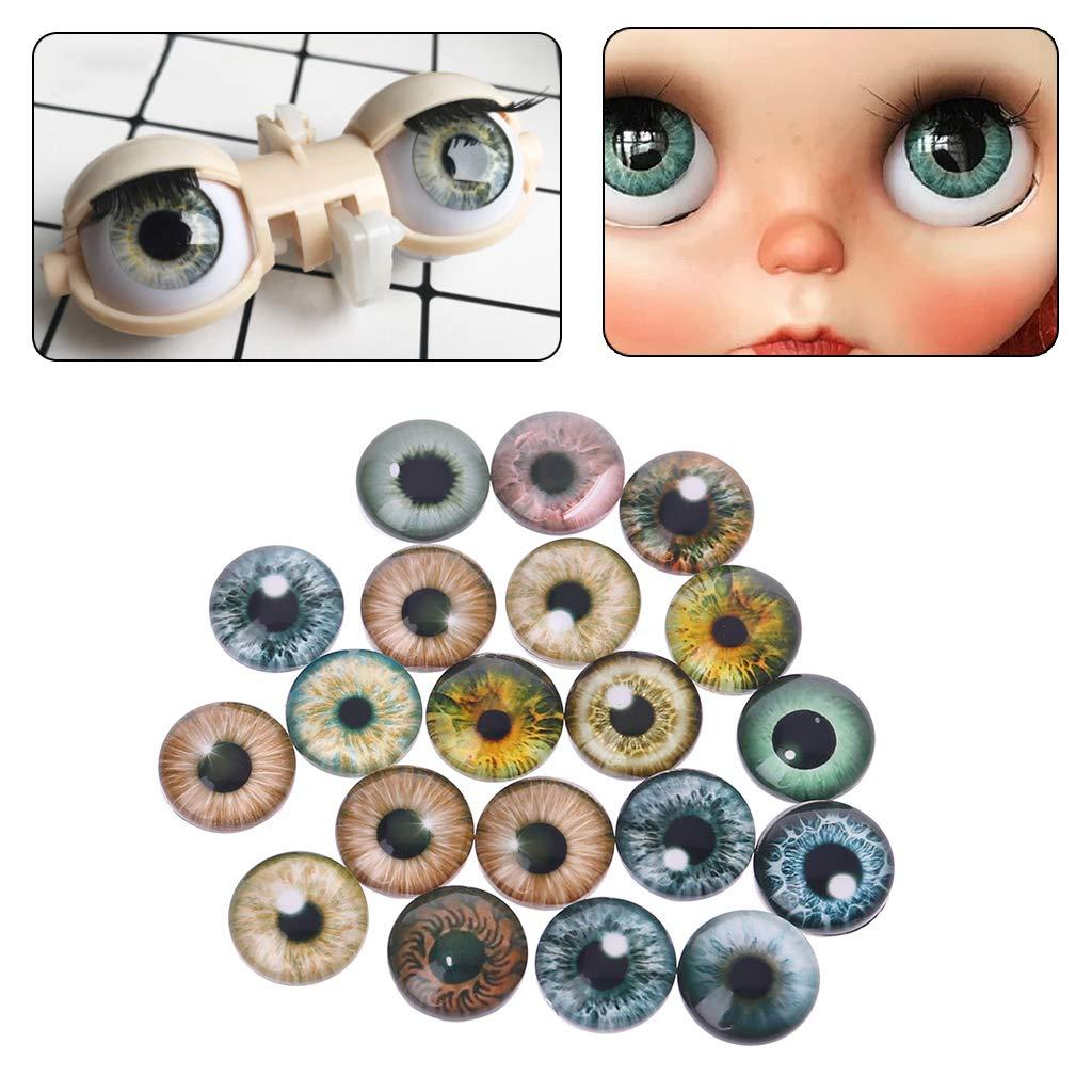 Ycncixwd 20Pcs Glass Doll Eyes Animal DIY Crafts Eyeballs for Dinosaur Eye Accessories Jewelry Making Handmade 8mm//12mm//18mm