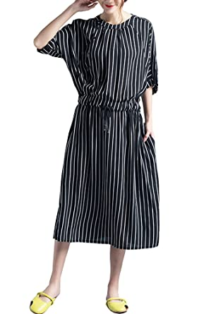 c38fa61f6e45 ONECHANCE Women Chiffon Dolman Short Sleeve Elastic Waist Casual Striped  Dress: Amazon.co.uk: Clothing