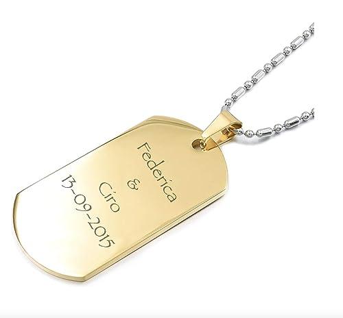 acquisto economico 75f49 5ab4d DRG Gioielli Collana Acciaio Uomo Donna con Incisione Personalizzata Nome  Frase Dedica Argento Oro Medaglia Piastra Piastrina