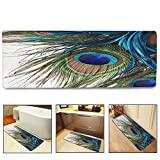 QIYI Bath Mat Rug Super Soft Non-Slip Machine Washable Quickly Drying Antibacterial,For Office Door Mat,Kitchen Dining Living Hallway Bathroom 16''x48''-Peacock Feather