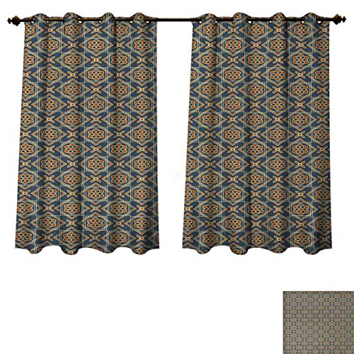 Anzhouqux Vintage Blackout Thermal Backed Curtains for Living Room Little Daffodils Florets Delicate Features Arabian Style Yard Blooms Corsage Window Curtain Fabric Dark Blue Orange W55 x L72 inch