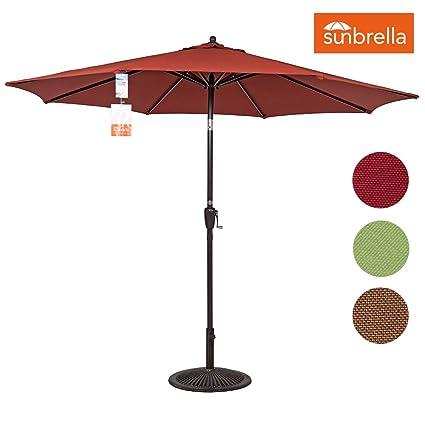 Sundale Outdoor 9 Ft Sunbrella Fabric Patio Garden Market Umbrella, Push  Button Tilt And Crank