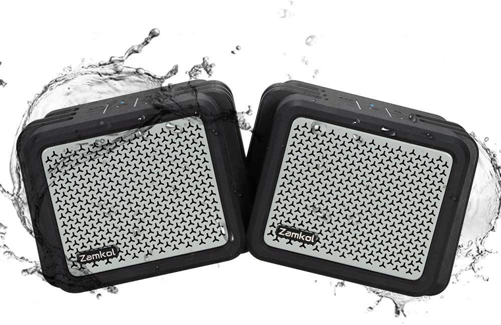 Zamkol 2Pcs Altavoz Bluetooth 5200mAh IPX7 Impermeable Super Volumen Booming Bass Estéreo Emparejamiento Inalámbrico Altavoz Portátil Micrófono Incorporado para Exteriores Ducha Viaje