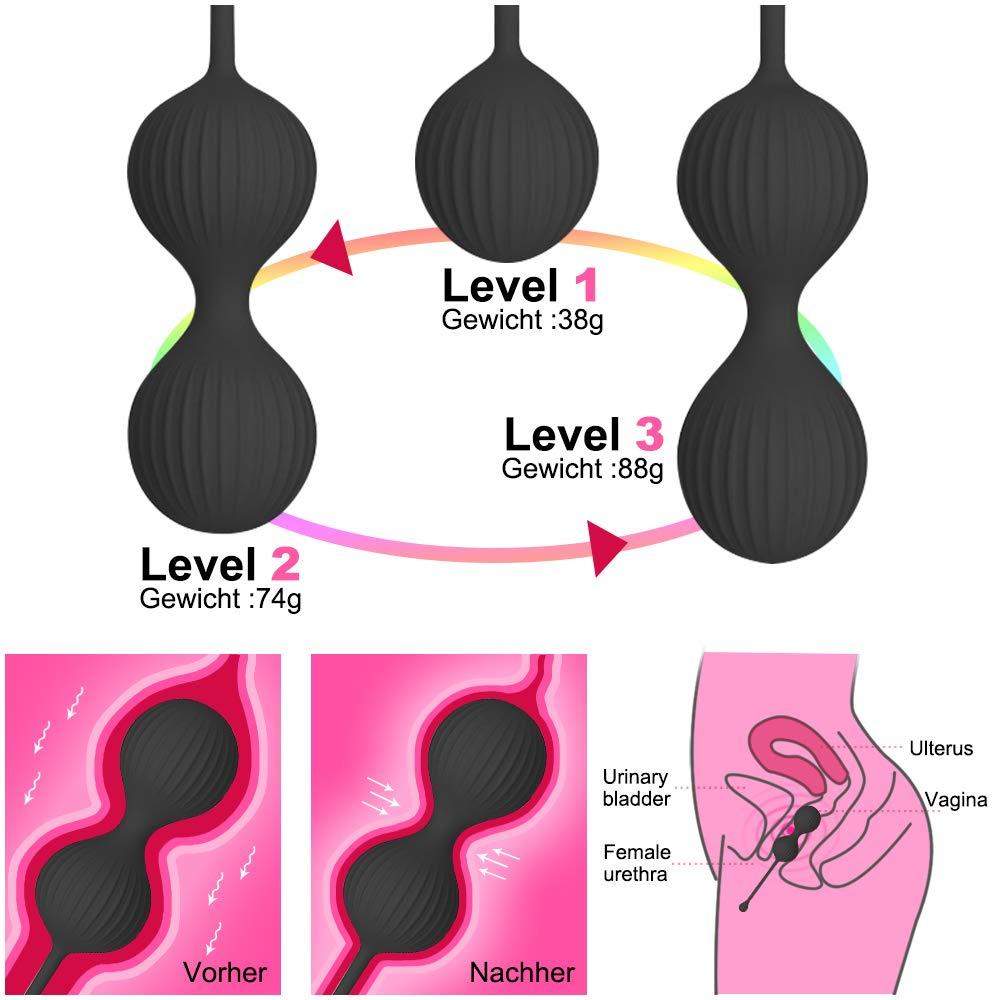 Liebeskugeln 3er Set für sie,Loveballs mit Innen Rotierenden Kugeln,Beckenboden Training für Frauen mit Vibration zur intensiven Stimulation - Stärkung der Vaginalmuskulatur & Sextraining,Velvet Black