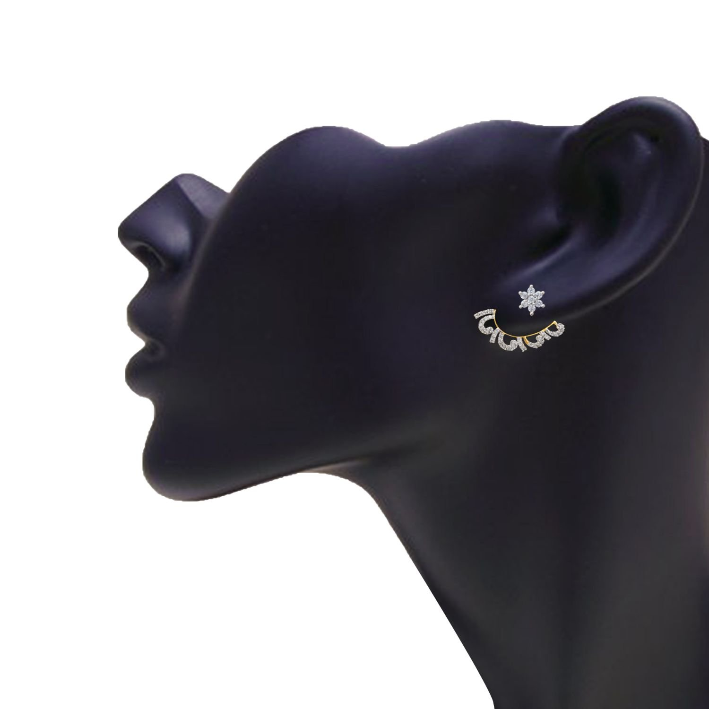 Efulgenz Ear Cuffs Earring Jackets CZ Feather Leaf Climber Cartilage Cuff Wrap Front and Back Studs
