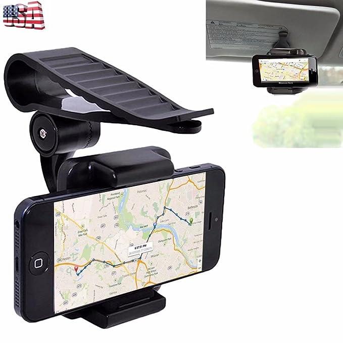 kingfurt soporte de coche para teléfono móvil soporte universal 360 rotación coche sol visera Clip de