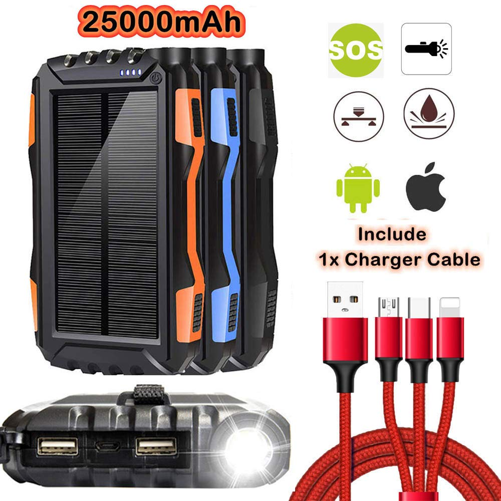 25000mAh Solar Charger,Solar Power Bank,Portable Solar Phone Charger,Waterproof Battery Backup Charger with LED Flashlights,Portable Charger with 3-in-1 Charger Cable for iOS & Android