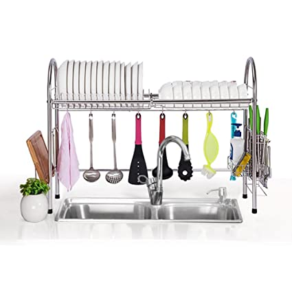0cce50d9721b Amazon.com: Over Sink Drying Rack Dish rack Over Sink Shelf Dish Drainer,  Stainless Steel,83.5 X 28 X 63cm: Kitchen & Dining