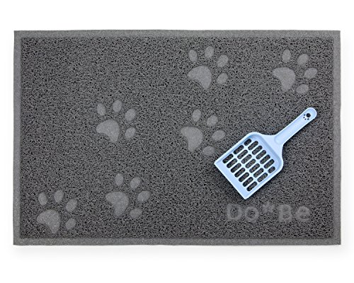 Do-Be Cat Litter Box Mat – Premium Quality Litter Genie Tracking and Scatter Control. Soft for Sensitive Kitty Paws, Rubber Non-slip Back, Bonus Cat Litter Scoop