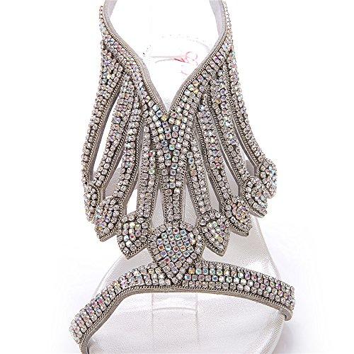 Unicrystal - Zapatos con correa de tobillo mujer Plateado - plata