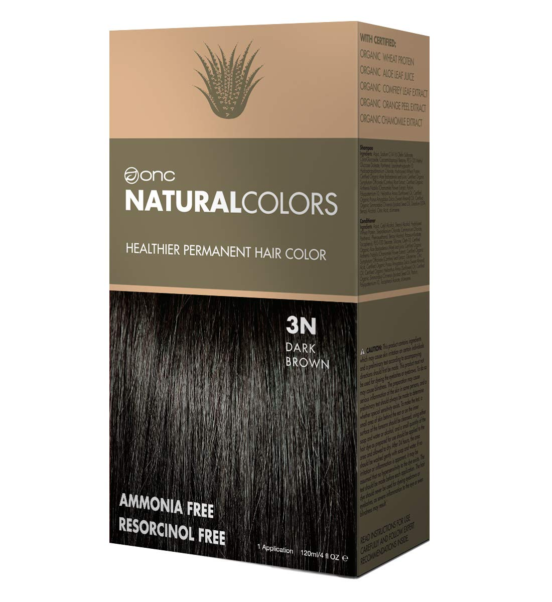 ONC NATURALCOLORS Healthier Permanent Hair Color, Certified Organic Salon Quality Hair Dye, Ammonia-free, Resorcinol-free, Paraben-free, Low pH, Best Hair Coloring (3N Natural Dark Brown) by ONC NATURALCOLORS