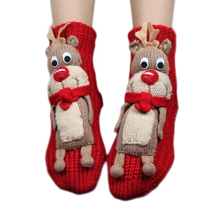 Un par de calcetines antideslizantes para dormir Slipper Socks Cute calcetines para piso-A01: Amazon.es: Ropa y accesorios