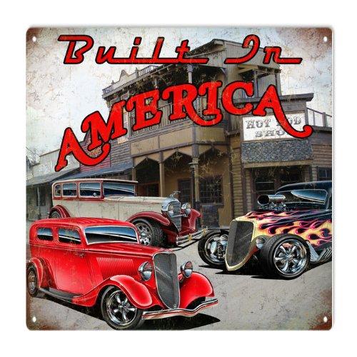 Built In America Hot Rod Garage Art Reproduction ()