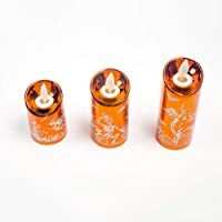 Flameless Candle Lamp Set of 3 Real Wax LED Pillar Candles Warm Light for Halloween Indoor Outdoor Decorations,Orange