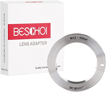 Beschoi Lens Mount Adapter Ring for M42 42mm Screw Mount Lens to Canon EOS EF Mount SLR Camera Body