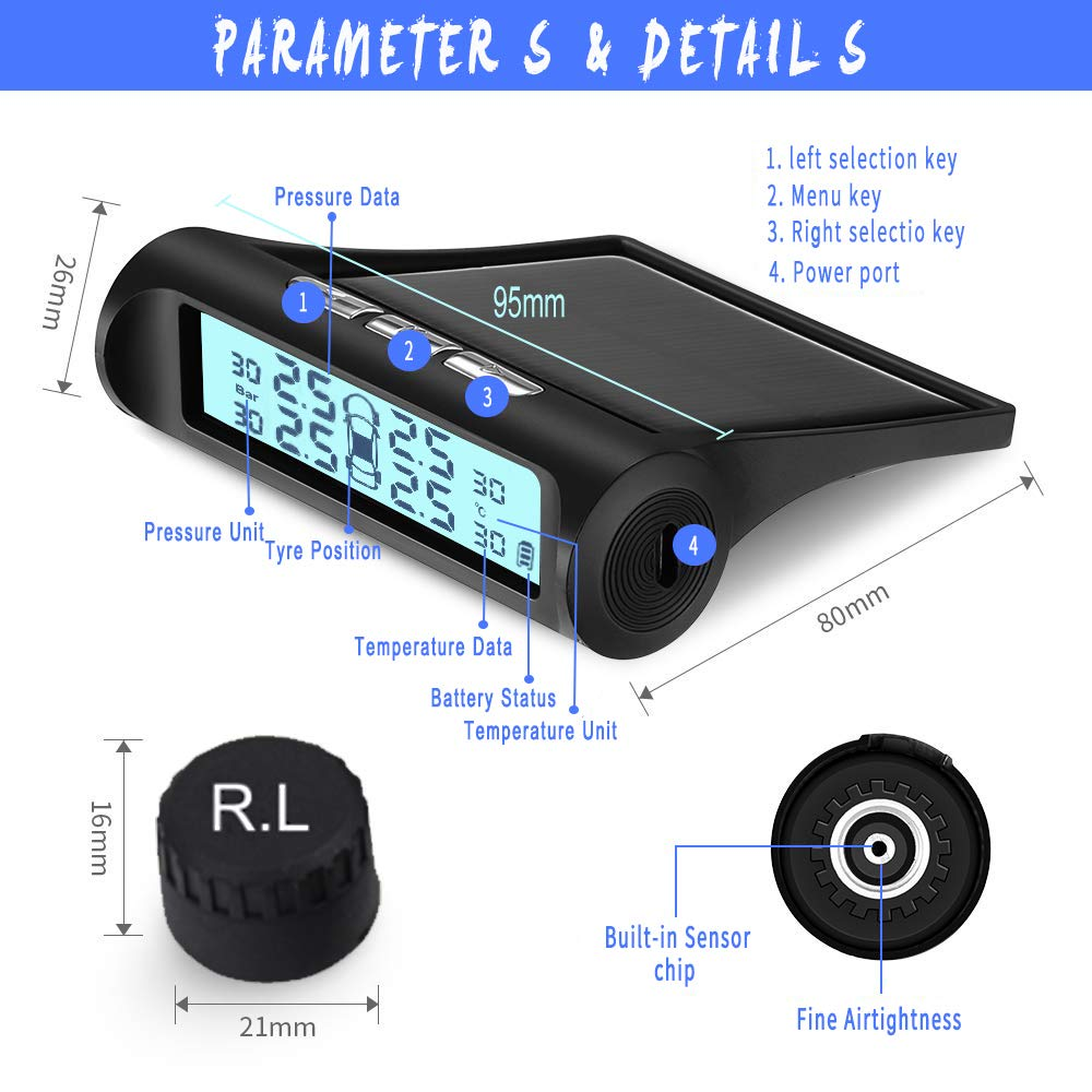 B-Qtech Tire Pressure Monitoring System Wireless TPMS with 6 Sensors for RV Trailer Truck