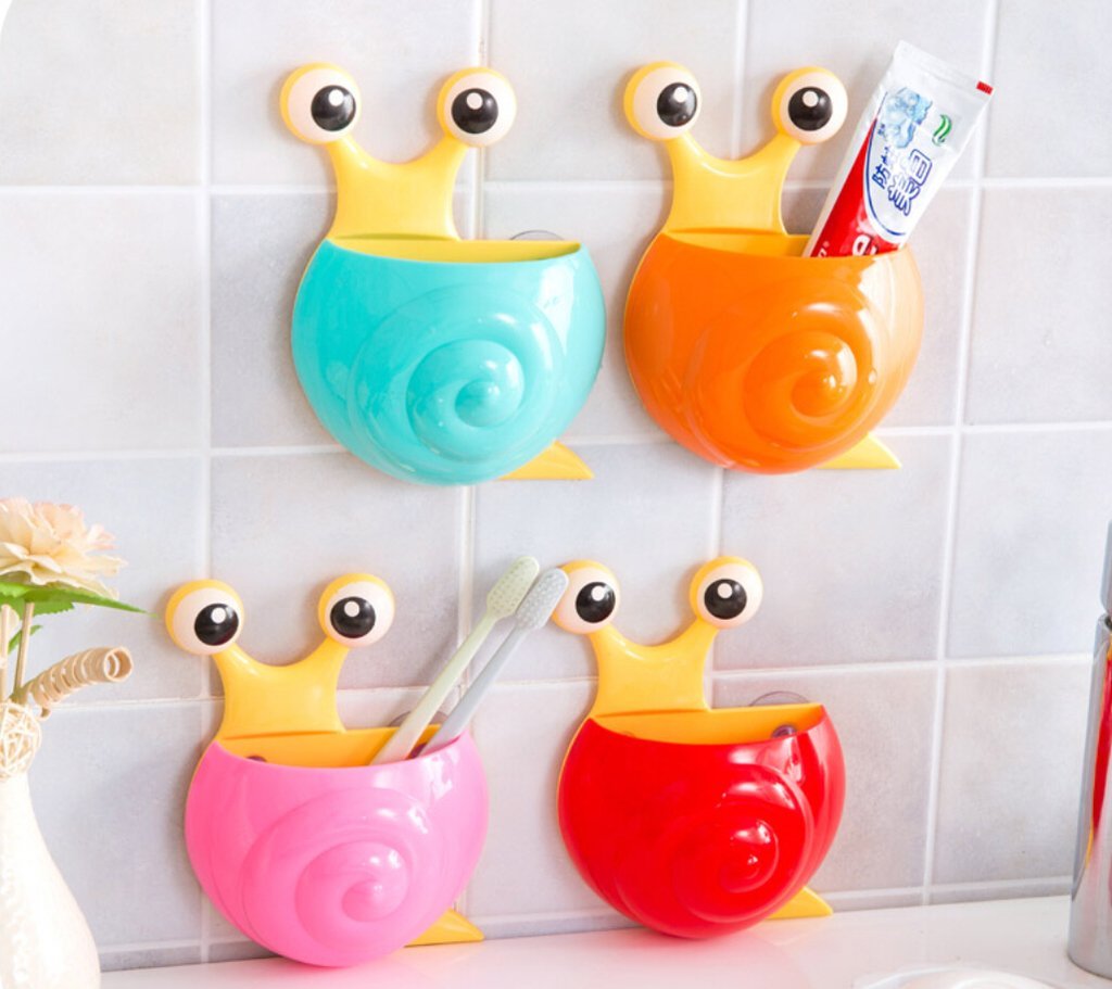 George Bogle Green TM Cute Cartoon Snail Kids Toothbrush Toothpaste Holder Wall Mounted Suction Cup Bathroom Decor
