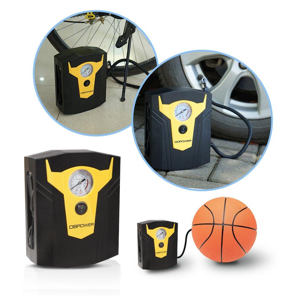 /12/V DC compresor de aire digital bomba para neum/áticos con 150PSI con indicador digital negro y amarillo 3/boquillas de alta presi/ón y adaptador para coches bicicletas y pelotas de baloncesto DBPOWER/