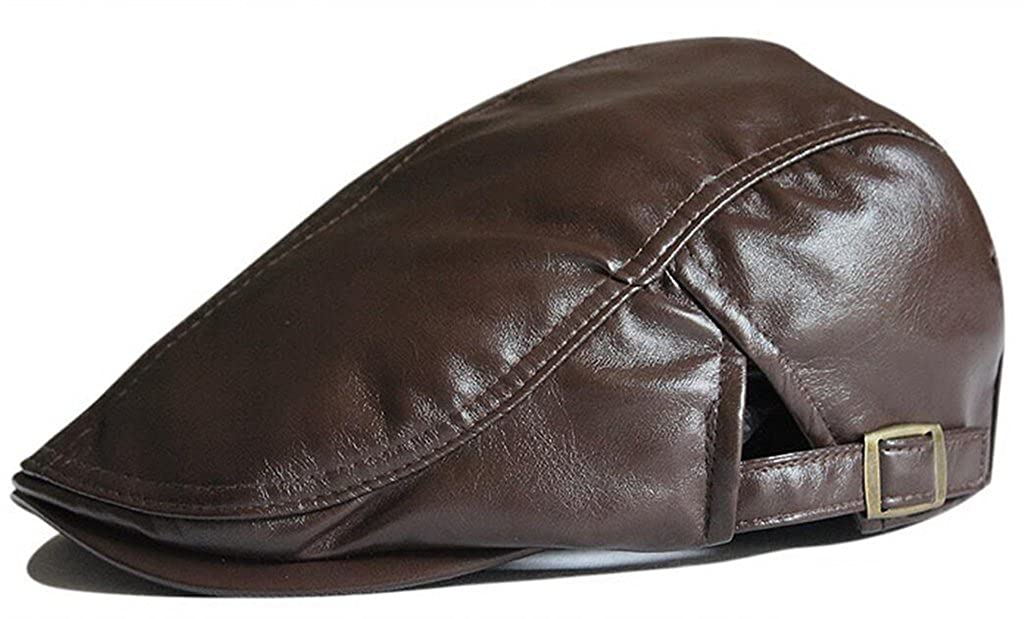 Duckbill Ivy Cap Driving Flat Cabbie Newsboy Beret Hat Leather Solid Color Gumstyle