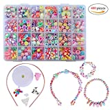 QH-Shop Kids Beads,DIY Bead Colorful Plastic 24 Compartments Bracelets Making Bead Art Kit in PVC Box as Gift for Children Girls 400 pieces