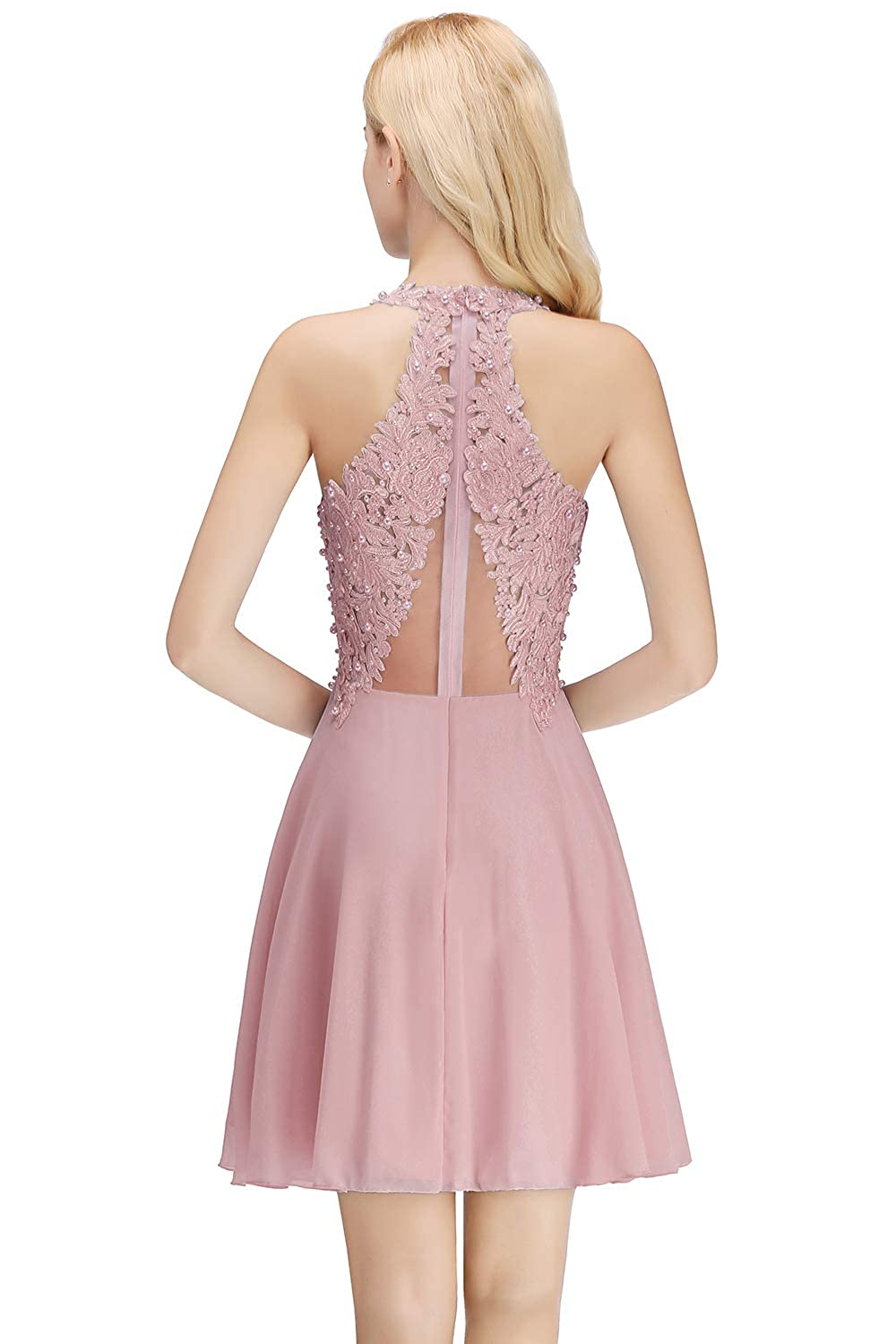 7450054091d MisShow Junior s Halter Lace Applique Short Homecoming Cocktail Party Prom  Dress at Amazon Women s Clothing store