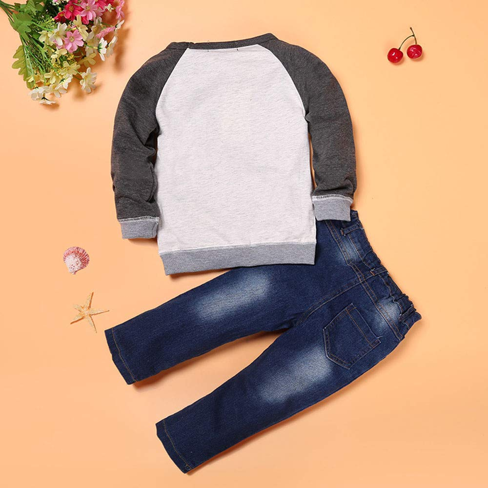 Hot Kids Boys Outfits Car Printed Long Sleeve Tops Jeans Clothes Set Casual Fall Clothing 2-7T