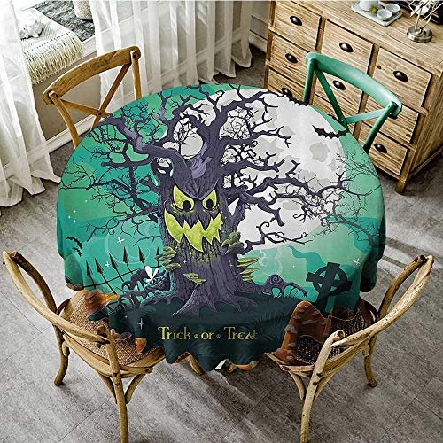 familytaste Outdoor Camping TableclothsHalloween,Trick or Treat Halloween Theme Dead Forest with Spooky Tree Graves Big Mushrooms Kids Cartoon,Multi D 70