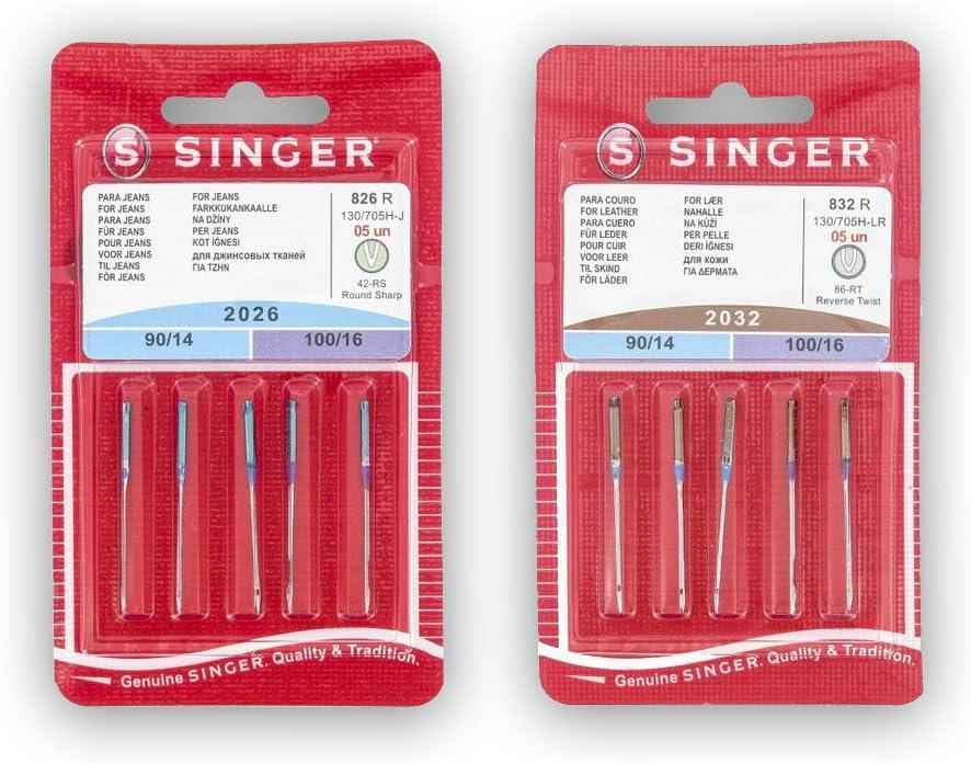 Singer Kit de 2 Paquetes de Agujas para Coser Cuero y Tejanos (826R + 832R) 2026 y 2032 130/705 H-J y H-LL (Universales, Planas de Un lado)