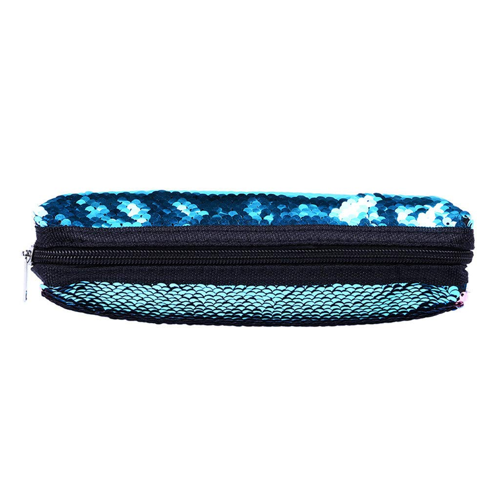 Fheaven Portable Stylish Sequins Pen Bag Stationery Pouch Multi-Colored Pencil Case Cosmetic Pouch Holder Compact Zipper Storage (Blue)