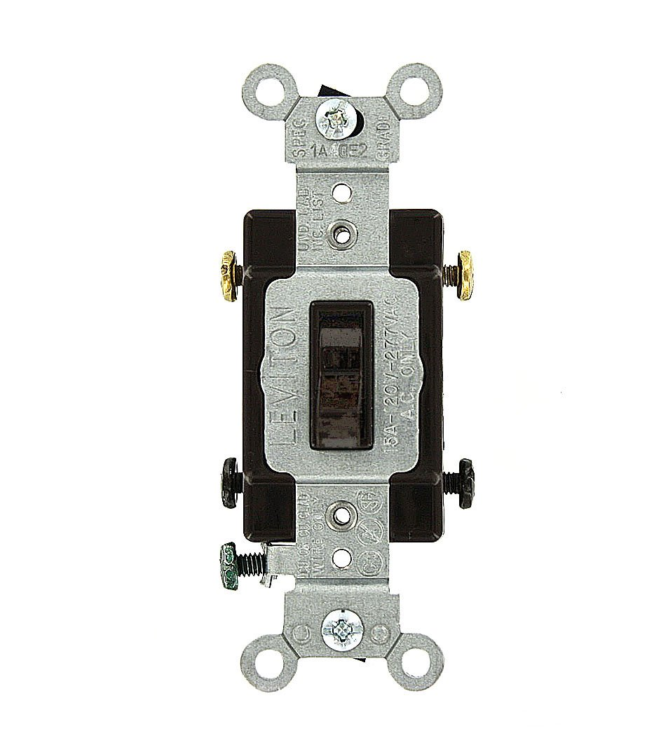 Leviton 54502-2 15 Amp, 120/277 Volt, Toggle Framed Double-Pole AC Quiet Switch, Commercial Grade, Grounding, Brown