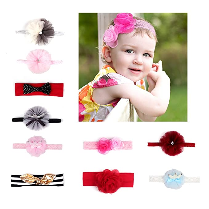 Amazon.com  Lace Bow Headbands For Baby Girls ac46c8eead7