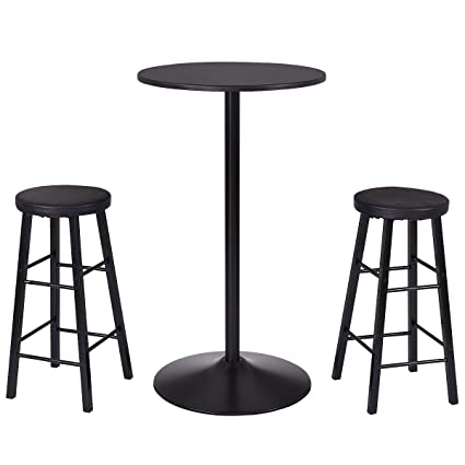 Amazon Com Costway 3 Piece Bar Stool Table Set Bistro Kitchen