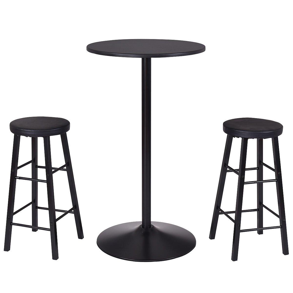 Costway 3-Piece Bar Stool Table Set Bistro Kitchen Dining Furniture (Round bar table)