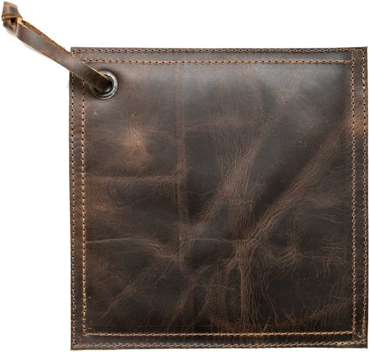 Hide & Drink Rustic Leather Hot Pot Pad (Potholder), Double Layered, Double Stitched and Handmade Bourbon Brown
