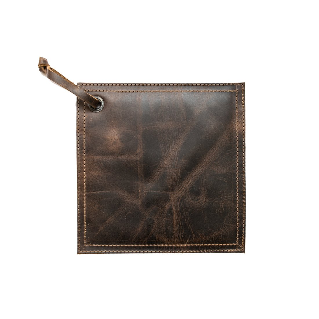 Hide & Drink Rustic Leather Hot Pot Pad (Potholder), Double Layered, Double Stitched and Handmade Bourbon Brown by Hide & Drink