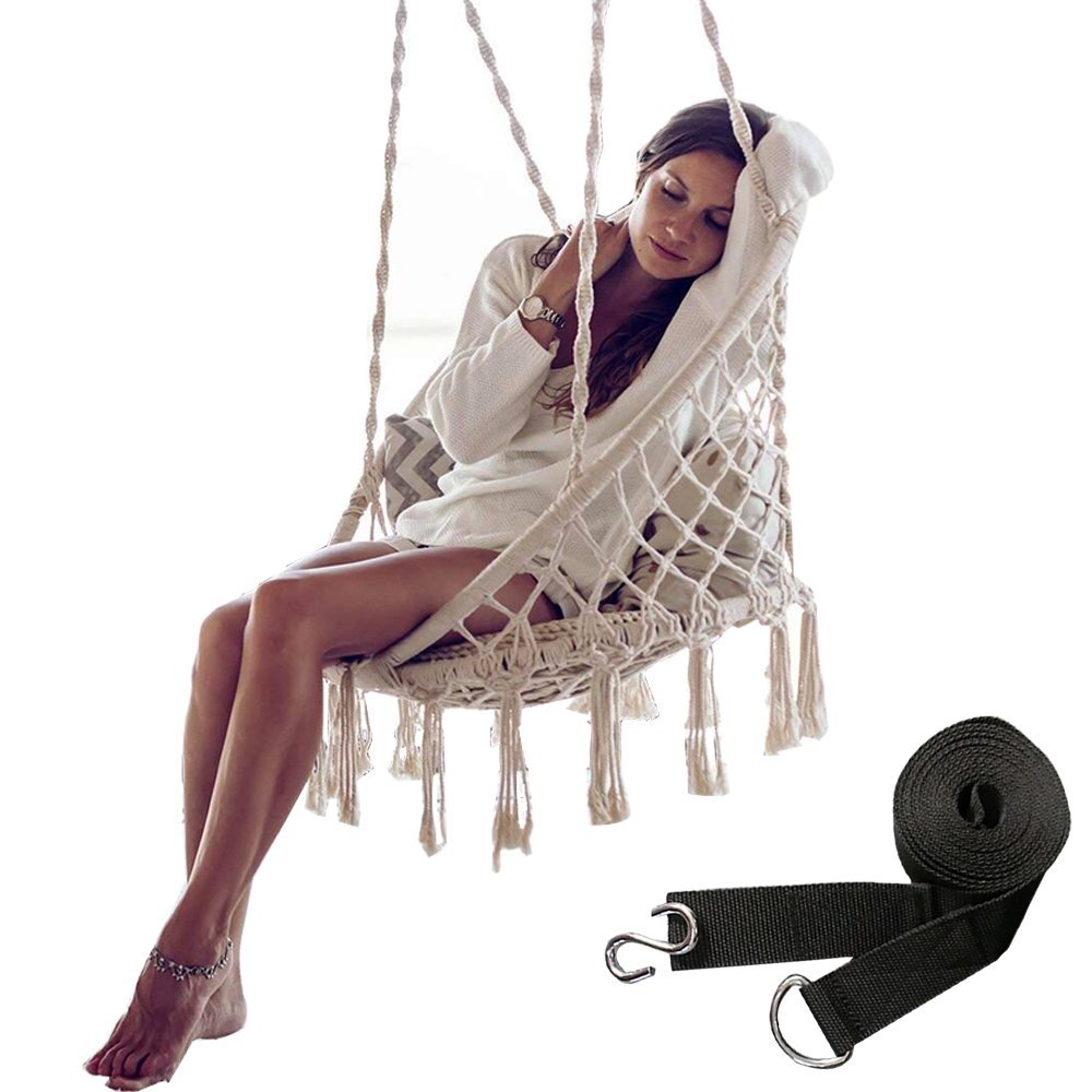 Hammock Chair Hanging Cotton Rope Macrame Swing Chair 265Lbs Capacity for Indoor/Outdoor Backyard、Garden with Swing Rope, Including A Pair Swing Strap - 2 Hook, Beige
