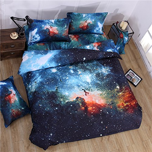 MIFE TEXTILE 4PCs 100% Polyester Duvet Cover Sets, 3D Galaxy Printing Themed, (Bed Sheets Duvet Covers)