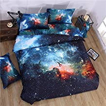 Cliab Galaxy Bedding for Kids Boys Girls Queen Size Outer Space Duvet Cover Set 7 Pieces(Fitted Sheet Included)
