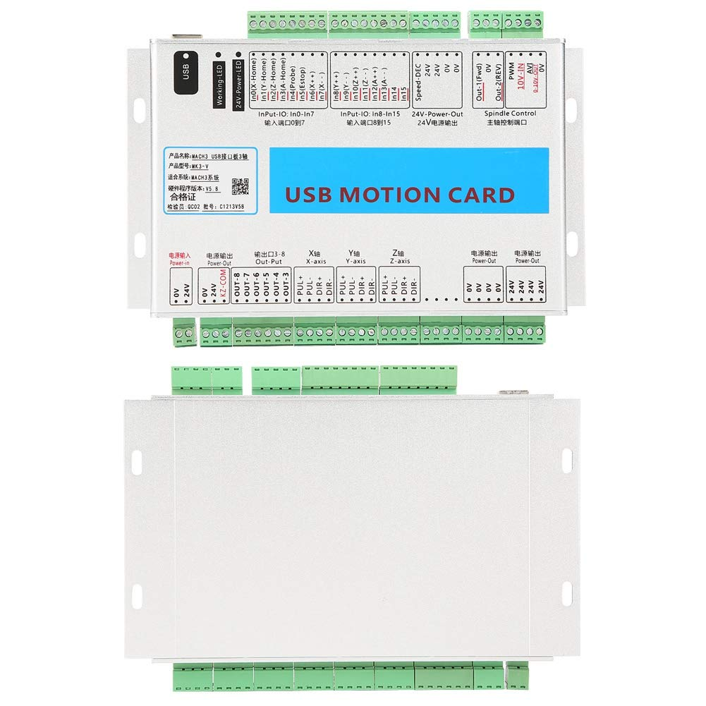 ZJchao Mach3 Motion Card, Aluminum Case Shielding Interference Stable and Reliable 3 Axis Mach3 Breakout Board CNC USB Motion Control Card 2000KHz by ZJchao (Image #5)