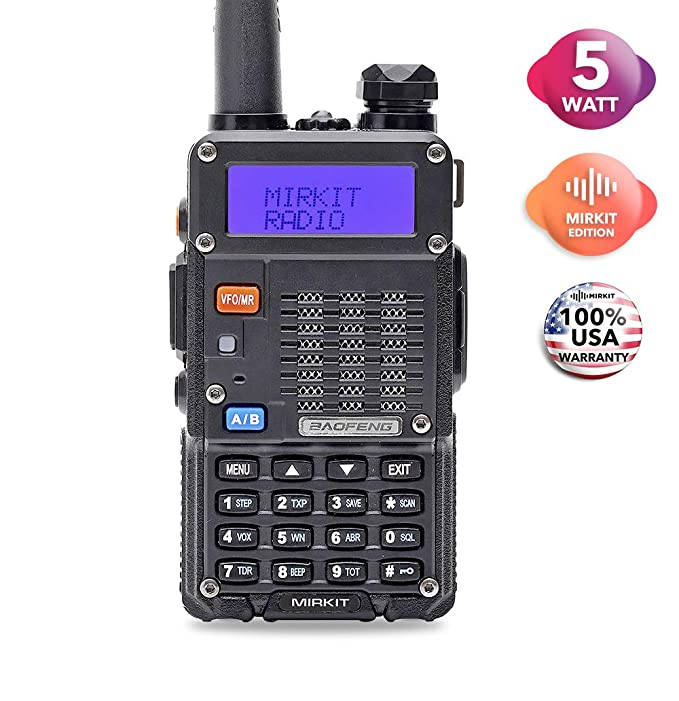Mirkit x Baofeng Radio UV-5R MK3X 5W Power 2019 2100 mAh Li-ion Battery, Tri-Band Radio VHF, 1.25M, UHF, Mirkit Edition and Neck Strap Lanyard Mirkit Ham Radio Operator