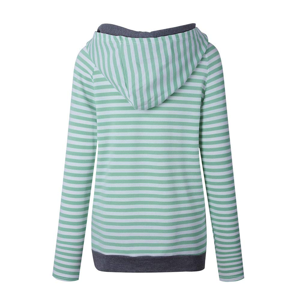 Ghazzi Women Hoodie Stripe Pullover Tops Long Sleeve Drawstring Sweatshirt Casual Zippered Hoodie Tops Shirt