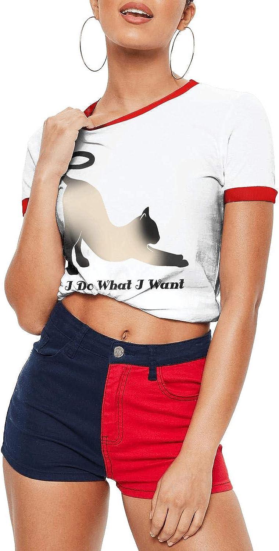 Geometric Siamese cat face Women's T-Shirts 100% Cotton Short Sleeve Fun t Shirt