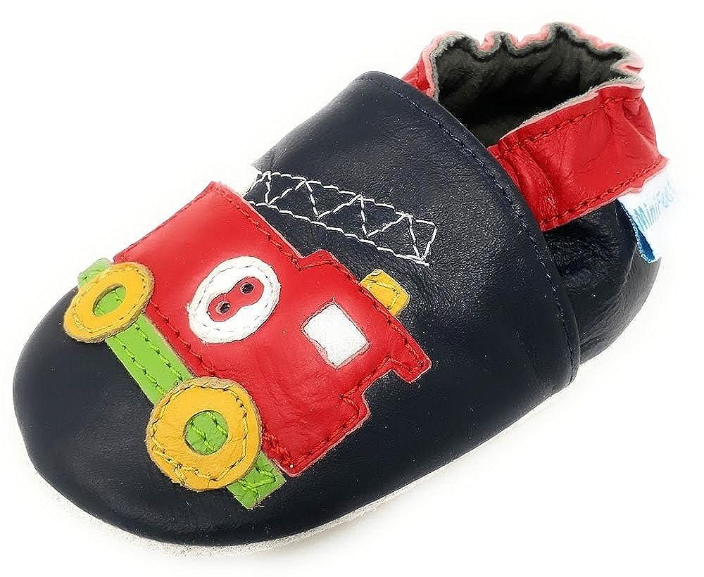 MiniFeet Chaussures Bébé en Cuir Souple, Camion de Pompiers