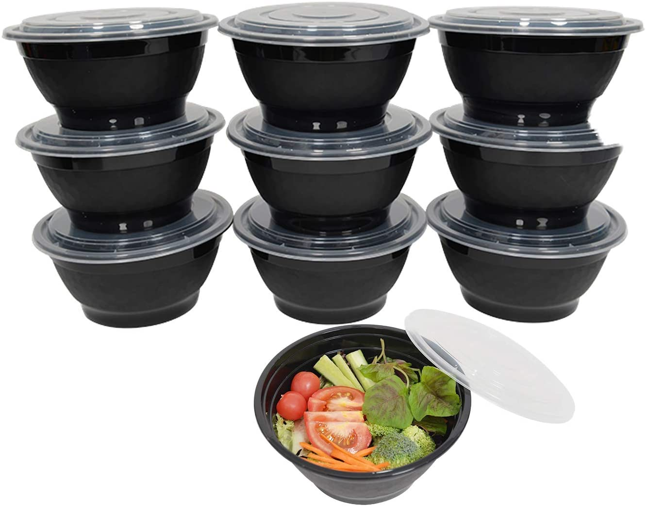 Elam Plastic Meal Prep Container Noodle Bowl 25-pack 42oz Meal Prep Containers Round Bowls with Lids Food Storage Salad Bowl Bento Box Microwavable(BPA Free) Freezer/Dishwasher Safe Disposable