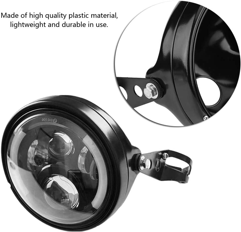 light Acouto H4 7 Motorcycle LED Headlight Round Refit Automobile Headlights LED with Lamp Housing and Headlight Brackets,6500K