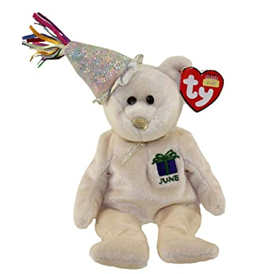 TY Beanie Baby - JUNE the Teddy Birthday Bear (w/ hat): Toys & Games